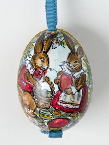 TEMPORARILY OUT OF STOCK - Peter Priess of Salzburg Hand Painted Easter Egg Bunnies with Easter Eggs