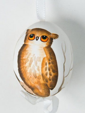 TEMPORARILY OUT OF STOCK - Peter Priess of Salzburg Hand Painted Easter Egg Brown Owl
