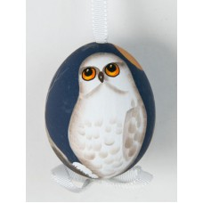 Peter Priess of Salzburg Hand Painted Easter Egg White Owl