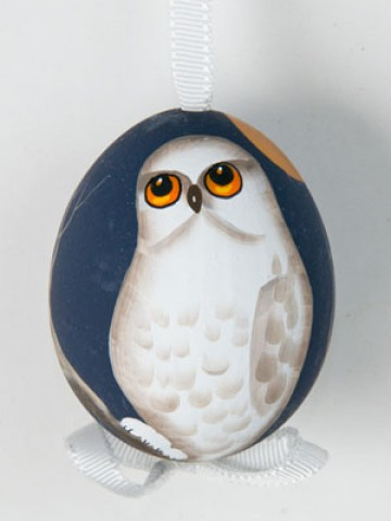TEMPORARILY OUT OF STOCK - Peter Priess of Salzburg Hand Painted Easter Egg White Owl