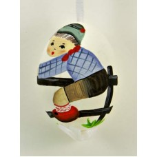 Peter Priess of Salzburg Hand Painted Easter Egg Little Boy over the Fence