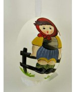 Peter Priess of Salzburg Hand Painted Easter Egg Little Girl on the Fence TEMPORARILY OUT OF STOCK