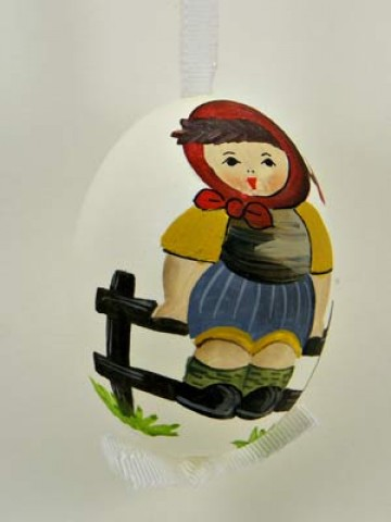 Peter Priess of Salzburg Hand Painted Easter Egg Little Girl on the Fence