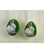 TEMPORARILY OUT OF STOCK - Peter Priess of Salzburg Hand Painted Easter Egg Pair of White Rabbits
