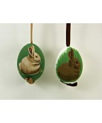 Peter Priess of Salzburg Hand Painted Easter Egg Pair of Rabbits