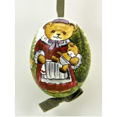 Peter Priess of Salzburg Hand Painted Easter Egg Mother Bear