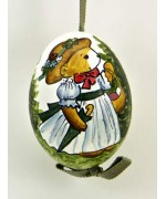 Peter Priess of Salzburg Hand Painted Easter Egg Little Girl Bear - TEMPORARILY OUT OF STOCK
