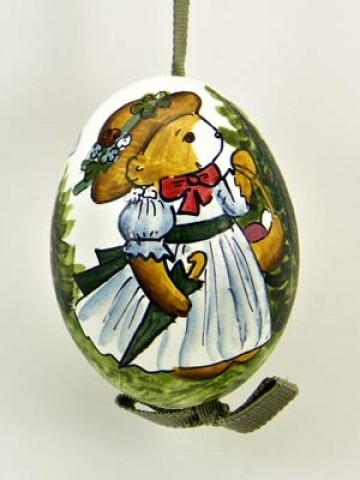 Peter Priess of Salzburg Hand Painted Easter Egg Little Girl Bear