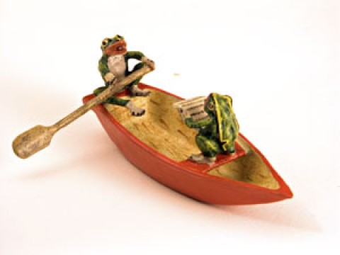 Vienna Bronze Frogs in Boat Miniature Figure - TEMPORARILY OUT OF STOCK