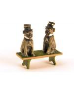 Vienna Bronze 'Pugs on a bench'  Miniature Figure