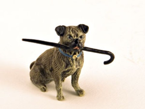 Vienna Bronze Pug with Cane in Mouth Miniature Figure - TEMPORARILY OUT OF STOCK