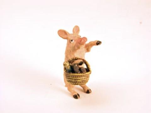 Vienna Bronze 'Pig Shopping-basket'  Miniature Figure