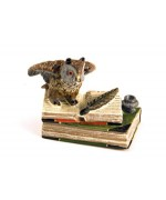 Vienna Bronze Owl on Book with Ink Pot  Miniature Figure