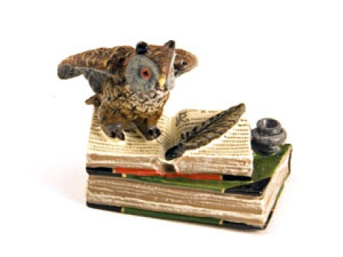 Vienna Bronze Owl on Book with Ink Pot Miniature Figure - TEMPORARILY OUT OF STOCK