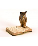 Vienna Bronze Owl on Book  Miniature Figure