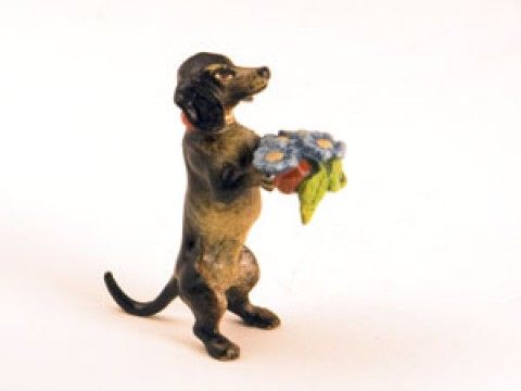 TEMPORARILY OUT OF STOCK <BR><BR>  Vienna Bronze 'Dachshund carrying flowers' Miniature Figure<BR