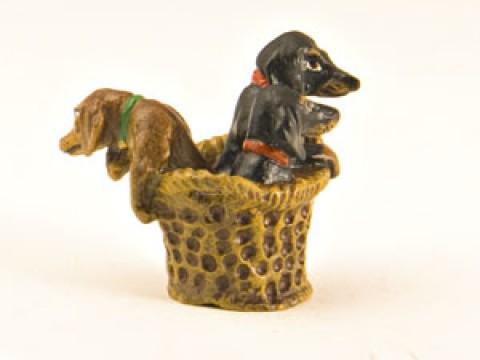 Vienna Bronze Dachshunds in Basket Miniature Figure
