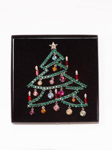 Large Swarovski Christmas Tree Pin