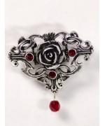 Red Crystal Ornate Rose Pin