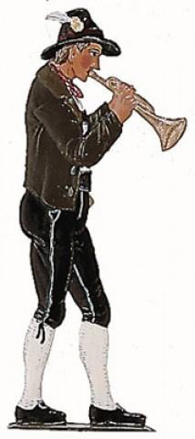 Bavarian Trumpet Musician' Standing Pewter Wilhelm Schweizer