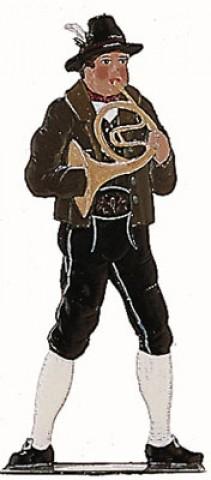 Bavarian Horn Musician' Standing Pewter Wilhelm Schweizer
