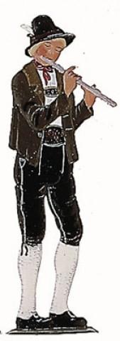 Bavarian Flautist Musician' Standing Pewter Wilhelm Schweizer