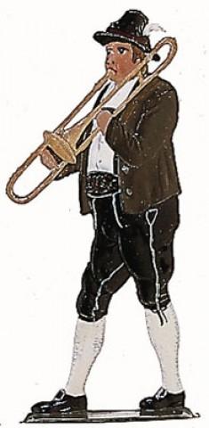 Bavarian Trombone Musician' Standing Pewter Wilhelm Schweizer
