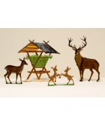 TEMPORARILY OUT OF STOCK - Feeding Station with Deer 4 Piece Set Wilhelm Schweizer
