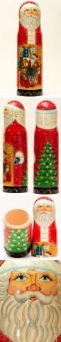 TEMPORARILY OUT OF STOCK - Santa at Tree Bottle Holder G. DeBrekht
