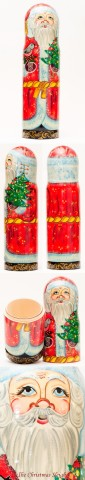 TEMPORARILY OUT OF STOCK - Santa with Tree Bottle Holder G. DeBrekht