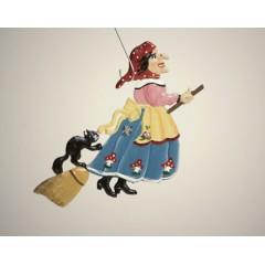 Witch on Broom Hanging Ornament Wilhelm Schweizer