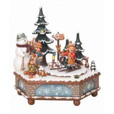 Winterzeit Music Box Original HUBRIG Wooden Figuren
