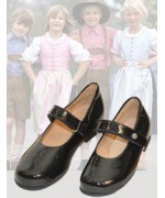 dirndl + bua Girl's Black Patent Leather Shoe