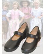 dirndl + bua Girl's Black Kidskin Mary Jane