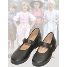 dirndl + bua Girl's Black Kidskin Mary Jane