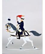 King Ludwig II Schlittenfahrt Horseman with Torch Standing Pewter Wilhelm Schweizer