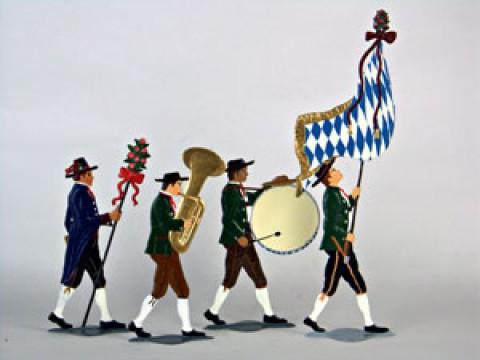 Bayrischer Hochzeitszug Bayrische Musiker Standing Pewter Wilhelm Schweizer