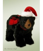 Byers Choice Black Bear with Santa Hat