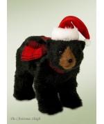 Byers Choice Black Bear with Santa Hat