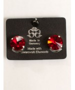 Crimson Red Swarovski Crystal Clip-On Earrings