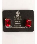 Crimson Red Swarovski Crystal Rectangle Clip-On Earrings