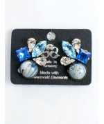 Blue Swarovski Crystal Array Clip-On Earrings
