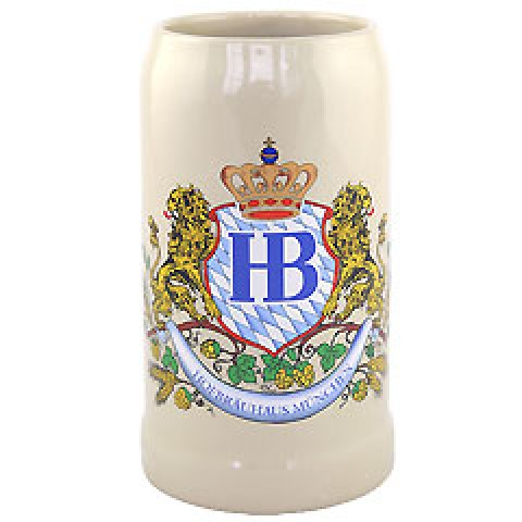 Hofbrauhaus German Beer Mug Loewendekor Beerstein  - 1.0 Liter