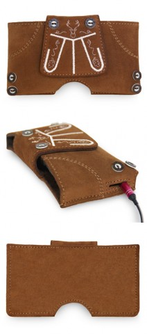 TEMPORARILY OUT OF STOCK Lederhose Mobile Phone Case Brown without clip