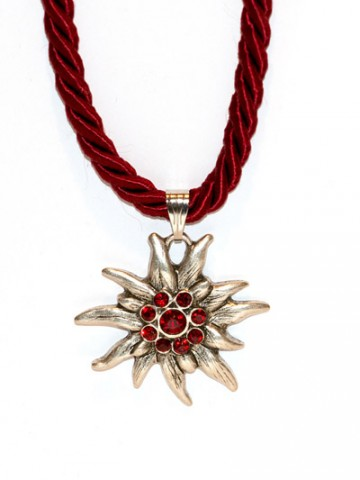 Dark Red Edelweiss Swarovski Necklace