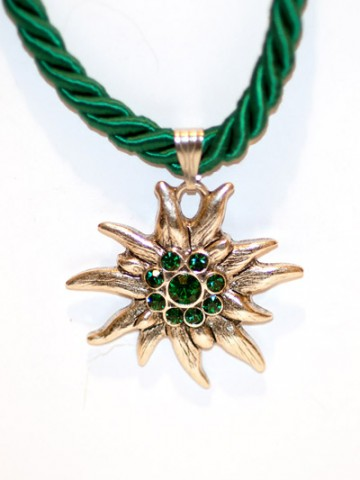 Emerald Green Edelweiss Swarovski Necklace