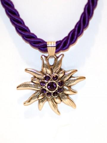 Purple Edelweiss Swarovski Necklace