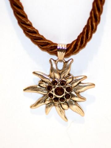 Brown Edelweiss Swarovski Necklace