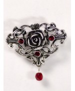 Red Crystal Ornate Rose Pin