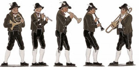 Bavarian Musician Set Standing Pewter Wilhelm Schweizer